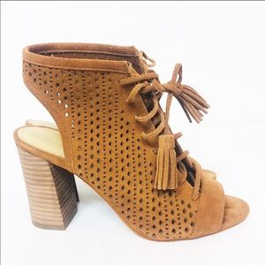 Marc Fisher Satire perforated suede sandal bootie